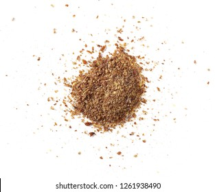 Ground, crushed, milled flaxseed, linseed isolated on white background