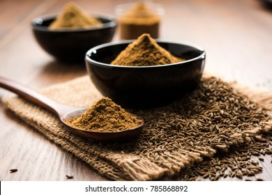 Ground Cumin Seeds and Jeera Powder, selective focus