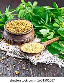 Ground fenugreek in a spoon and seeds in a bowl on burlap with green leaves on wooden board background