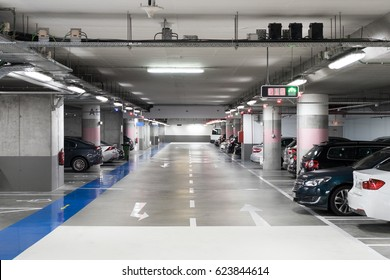 Ground floor for car parking, Modern underground parking, Concrete skeleton for parking car, Interior underground carpark, Large private garage, Hidden underground carpark