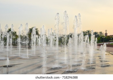 Ground fountain, beautiful spray, Abu Dhabi, UAE