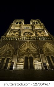 Ground level view of cathedral at night