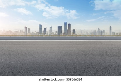 Ground road and Chongqing skyline