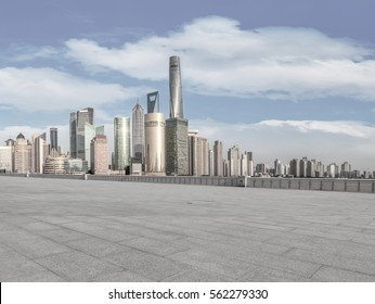 Ground road and Shanghai skyline