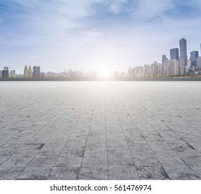 Ground roads and the city skyline of Chongqing