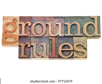 ground rules - isolated phrase in vintage letterpress wood type
