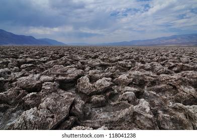 Ground Salt Formations in Death Valley National Park. Devil's Golf Course