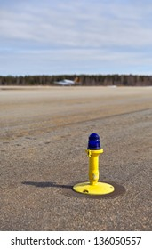 Ground side lamp taxiway at the airport