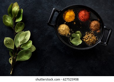 Ground Spices and herbs. Dabba masala box