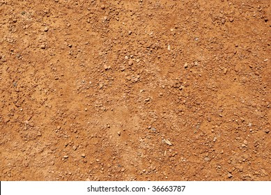 Ground texture background of brown desert soil, dusty land, dry earth and sand