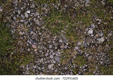 a ground texture background with pieces of grass, small rocks/pebbles and dirt photographed from above