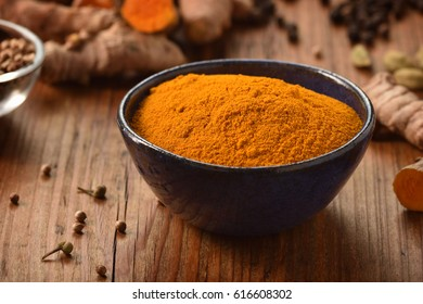 Ground turmeric powder in a bowl on wooden background. Healthy spice. Copy space, vertical shot.