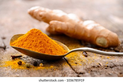 Ground turmeric in a spoon