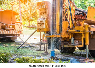 Ground water drilling machine installed on the old truck in Thailand. Countryside use water from bowels. Ground water well drilling for help.