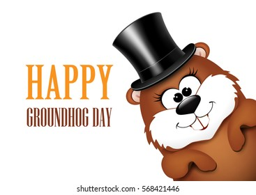 Groundhog Day greeting card with cheerful marmot.