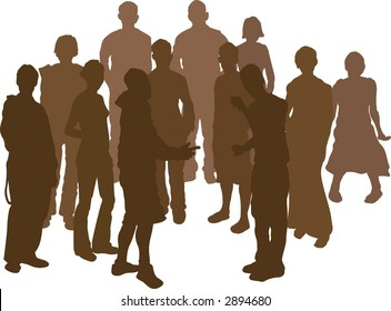A group of 12 funky young friends. Each is a complete silhouette. Raster version