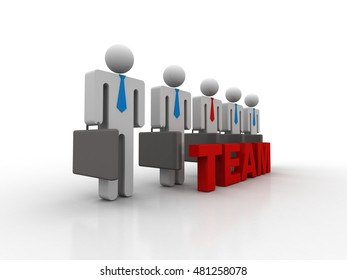 Group of 3d small people standing next to the word team. 3d rendering image
