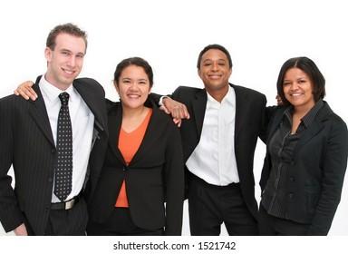 Group of 4 people, business people or volunteers