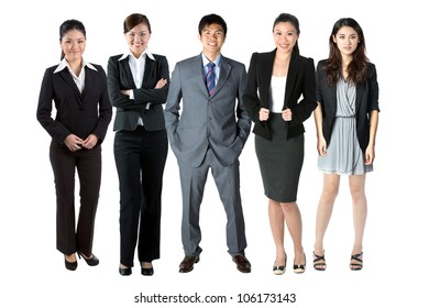 Group of 5 Chinese business people. Isolated over white background