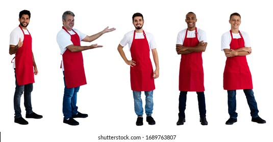 Group of 5 friendly male waiters and clerks isolated on white background for cut out