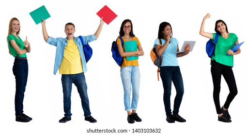 Group of 5 happy caucasian and latin american students on an isolated white background for cut out