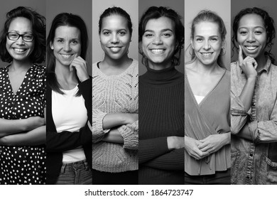 Group of 6 beautiful commercial women laughing