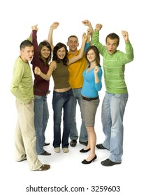 Group of 6 happy teenagers. They're standing with hands up. White background. Whole bodies visible.