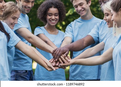Group of active environmentalists stacking hands in park, greeting power teamwork, copy space