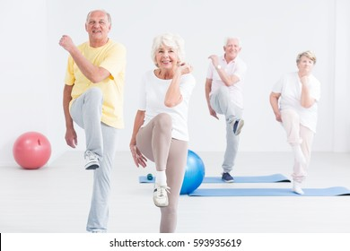 Group of active seniors exercising at the gym and smiling
