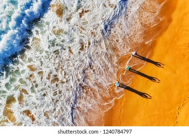 Group of active sporty healthy people exercising at breaking waves on shores of Pacific ocean off wide sands of Northern Beaches in Australia, Sydney, seen from above.