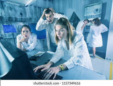 Group of adults trying to get out of an escape room stylized under laboratory