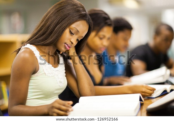 Group African American College Students Studying Stock Photo