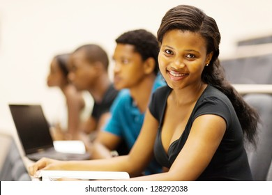 group of african american university students in lecture hall
