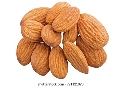 Group of almonds nut isolated on white background as package design element.