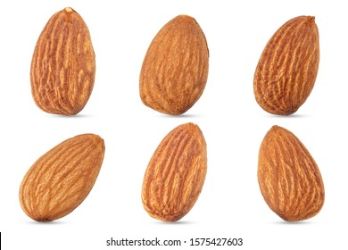 Group of almonds nuts isolated on white background.