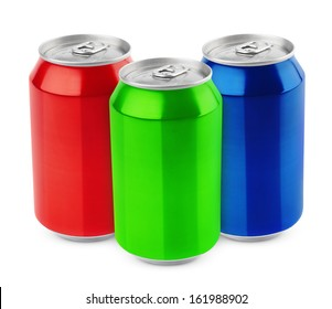 Group of aluminum 330ml cans isolated on white background