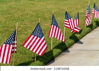 Group of American flags in a row along side of grass lawn next to side walk for 4th of July celebration Memorial Day Independence Day holiday In the United States of America