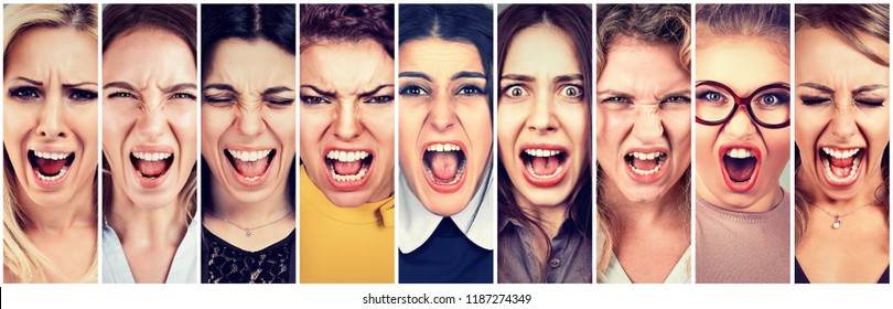 Group of angry people young women screaming
