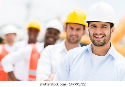 Group of architects and engineers at a building site