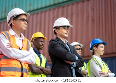 Group of architects and engineers at a construction site smiling, Teamwork Togetherness Unity Variation Support Concept.