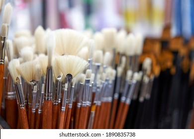 Group artistic paintbrushes for artist New paint brushes on shelf display in stationery shop. Art painting concept. Concept selling tools for artists