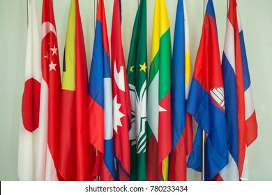 group of Asia flags