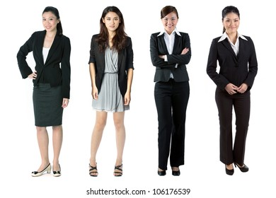 Group of Asian business women. Isolated over white background.