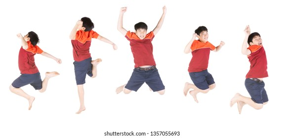 Group of Asian funny child boy jumping isolate on white background.