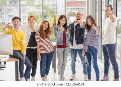 Group of asian and Multiethnic Business people with casual suit in the modern workplace, diversity and teamwork concept