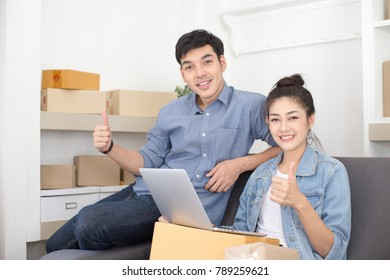 Group of Asian people working together for SME project. Young Owner people startup for Business Online, SME, Delivery Project. Online Business Concept.