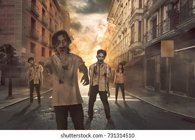 Group of asian scary zombies hang around on the street at destruction city