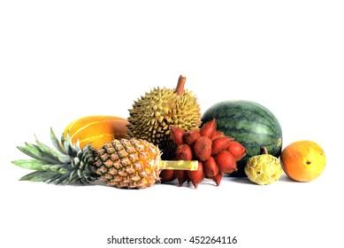 Group of Asian or Tropical fruit isolate on white background, Thailand