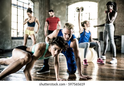Group of athlete training with functional gymnastic