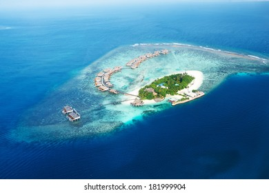 Group of atolls and islands in Maldives from aerial view